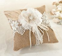 Rustic Burlap And Lace Wedding Ring Cushion